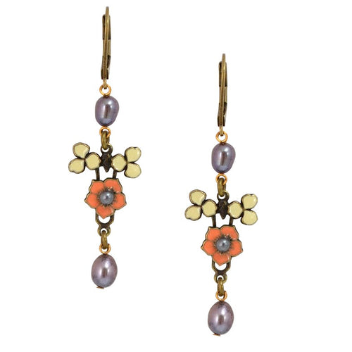 Coral Flower Pearl Drop Earrings by Eric et Lydie
