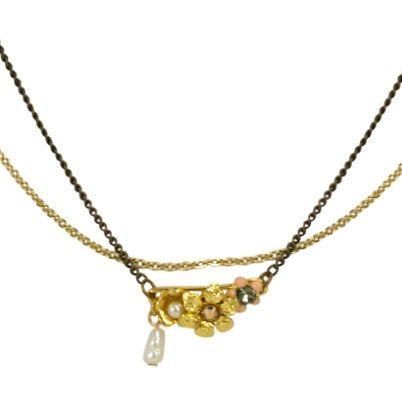 Chic Velvet and Swarvoski Crystal Pendant Necklace by Satellite Paris