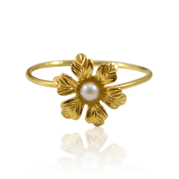 Daisy with Pearl Stackable Ring by Eric et Lydie - Size 5