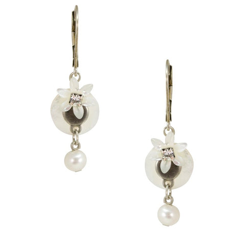 Mother of Pearl Drop Flower and Pearl Gold Plated Silver Earrings by Eric et Lydie