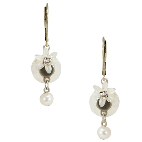 Mother of Pearl Drop Flower and Pearl Silver Earrings by Eric et Lydie