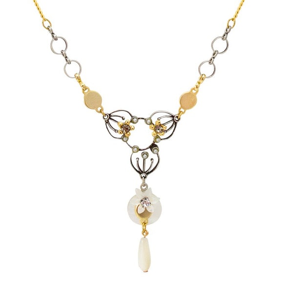 Mother of Pearl Flower and Geometric Drop Necklace by Eric et Lydie
