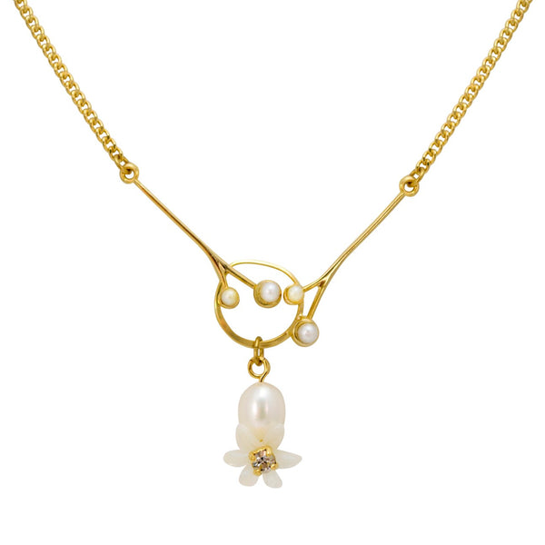 Golden Drop Pearl and Flower Necklace by Eric et Lydie