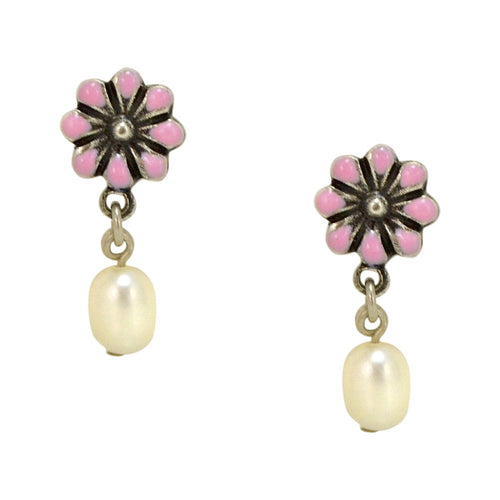 Daisy Pearl Drop Earrings by Eric et Lydie - Pink