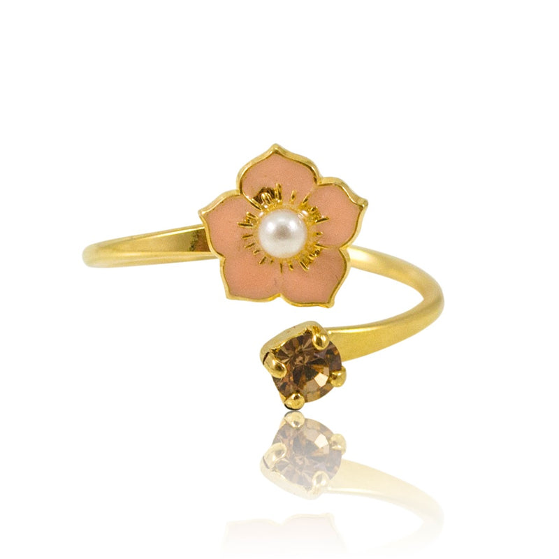 Peach Flower Adjustable Ring by Eric et Lydie