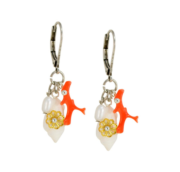 Shell, Coral and Pearl Earrings  by Eric et Lydie