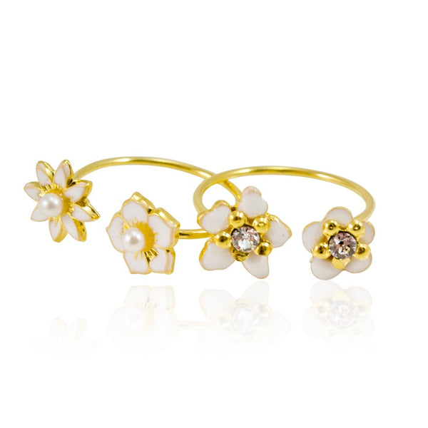 White Floral Stackable Ring by Eric et Lydie