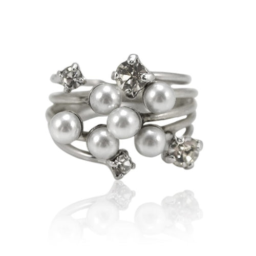 Swarovski Pearl and Crystal Stackable Ring by Eric et Lydie