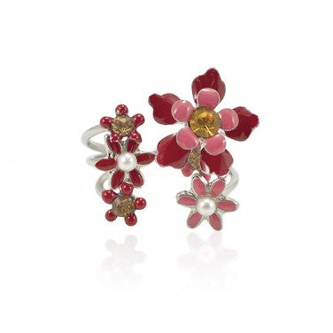 Flower Wreath Drop Earrings by Eric et Lydie - Pink