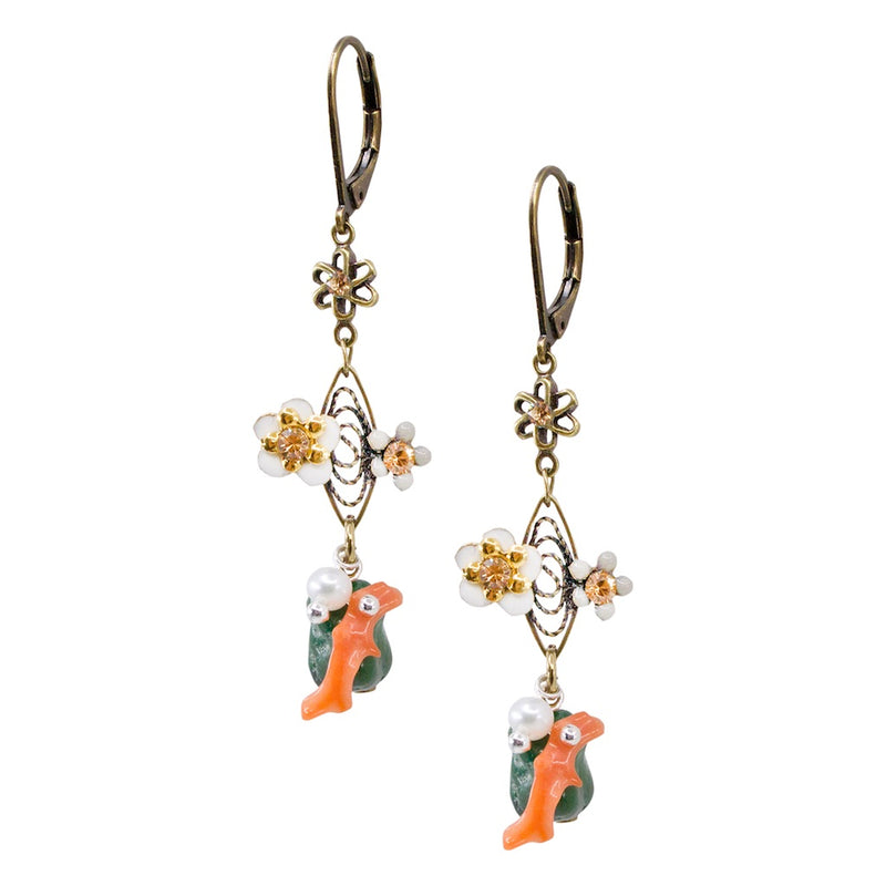 Delicate Flower and Coral Colored Resin Drop Earrings by Eric et Lydie