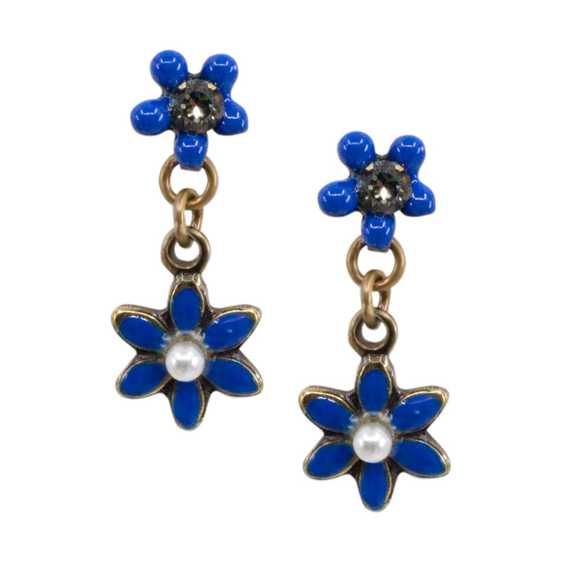 Drop Flower Post Earrings by Eric et Lydie - Navy Blue