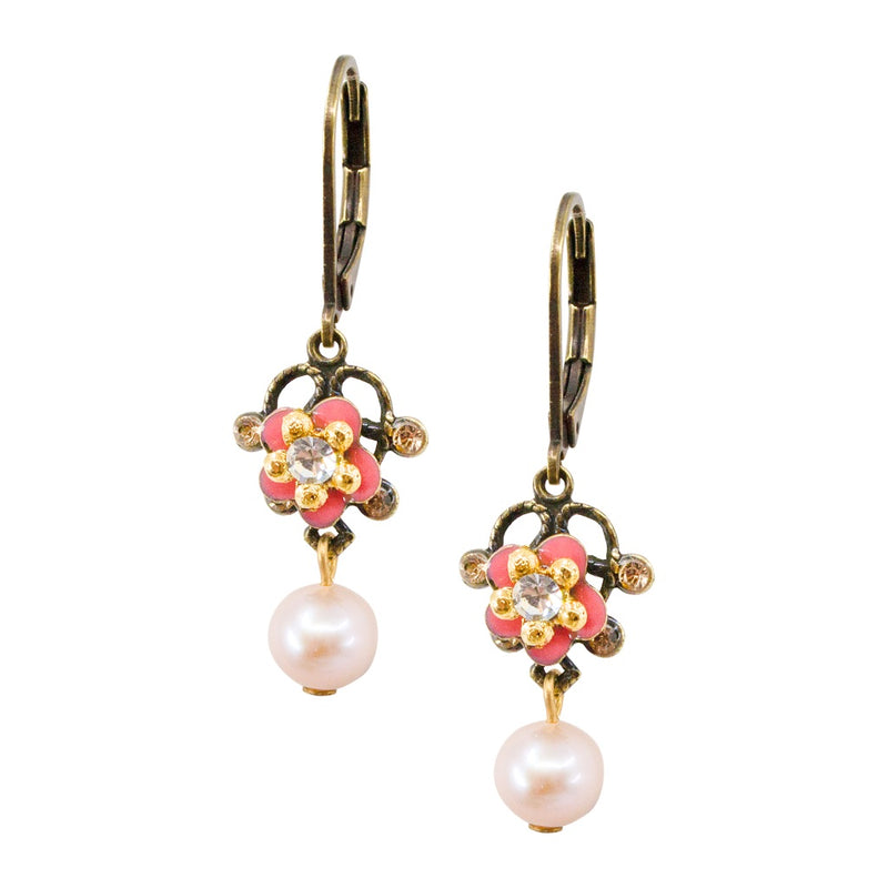 Drop Pearl and Flower Earrings by Eric et Lydie
