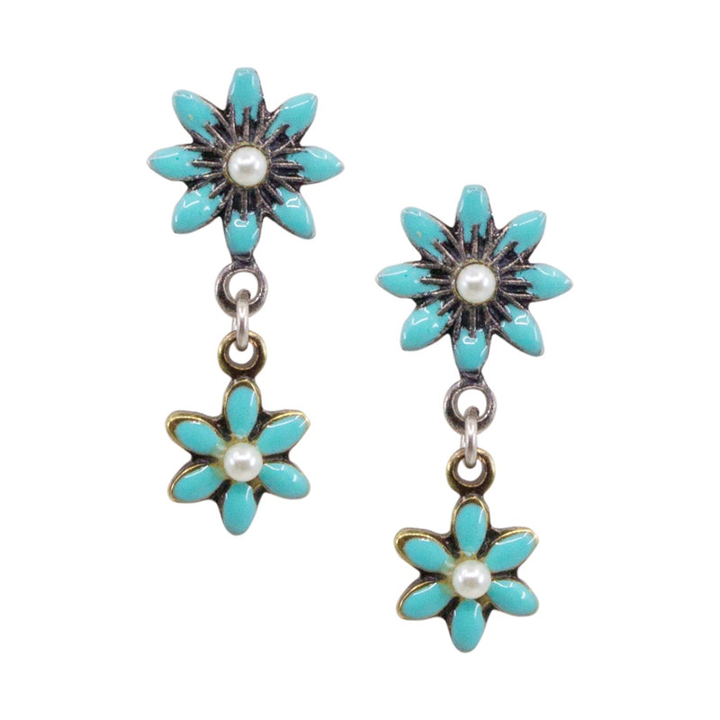 Drop Flower Post Earrings by Eric et Lydie - Tiffany's Blue
