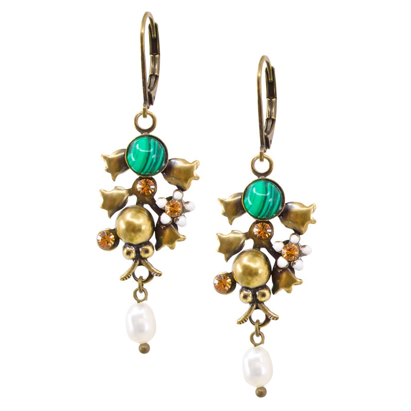 Malachite Lady Bug Earrings by Eric et Lydie