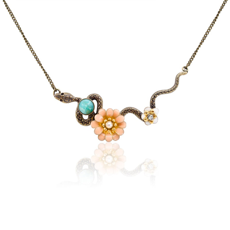 Serpent and Flower Pendant Necklace by Eric et Lydie