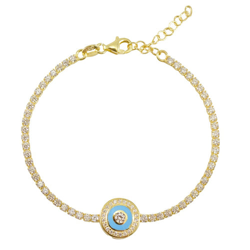 Evil Eye Gold Plated Sterling Silver Tennis Bracelet