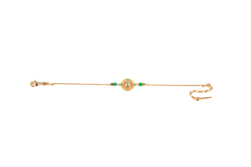 Delicate Gold Hematite and Green Jasper Bracelet by Satellite Paris