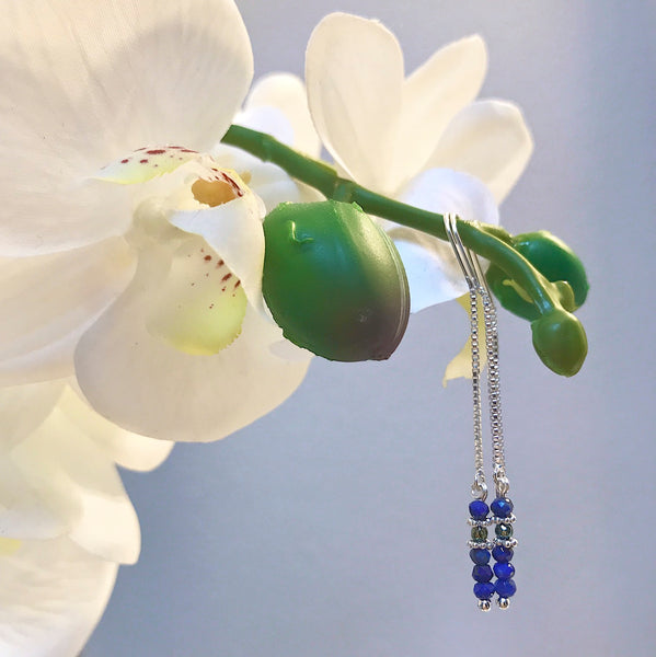 Sterling Silver and Lapis Chain Earrings by CLO&LOU
