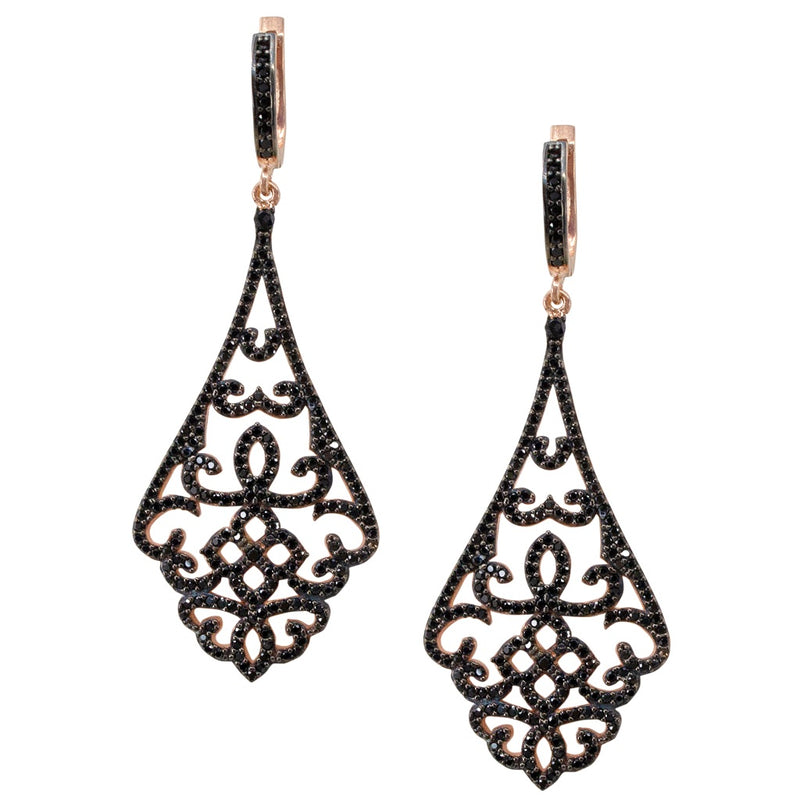 Geometric and Filigree .925 Silver and Zirconia Earrings