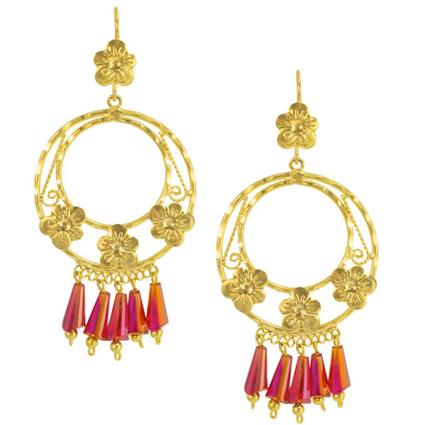 Mexican Filigree Earrings from Oaxaca - Pink Crystals