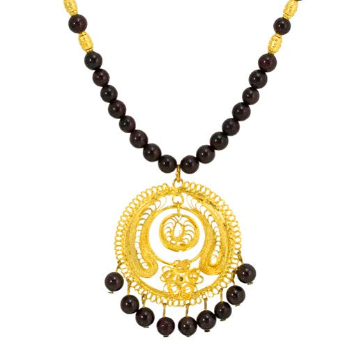 Mexican Filigree Pendant Necklace from Oaxaca - Agate Beads