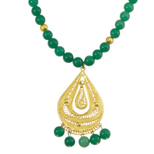 Mexican Filigree Pendant Necklace from Oaxaca - Jade Beads