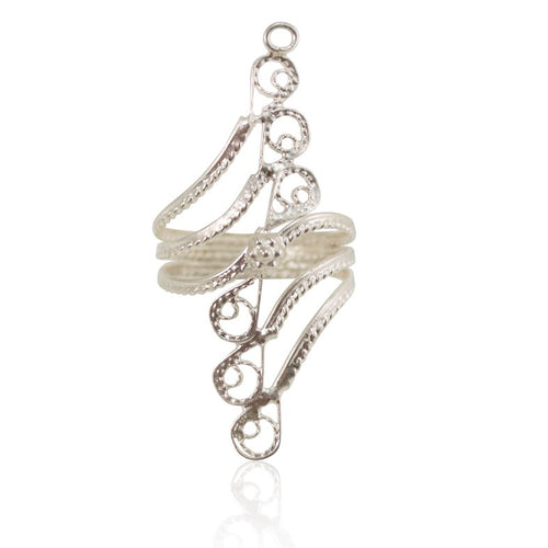 Henna Filigree Silver Ring - Size 7