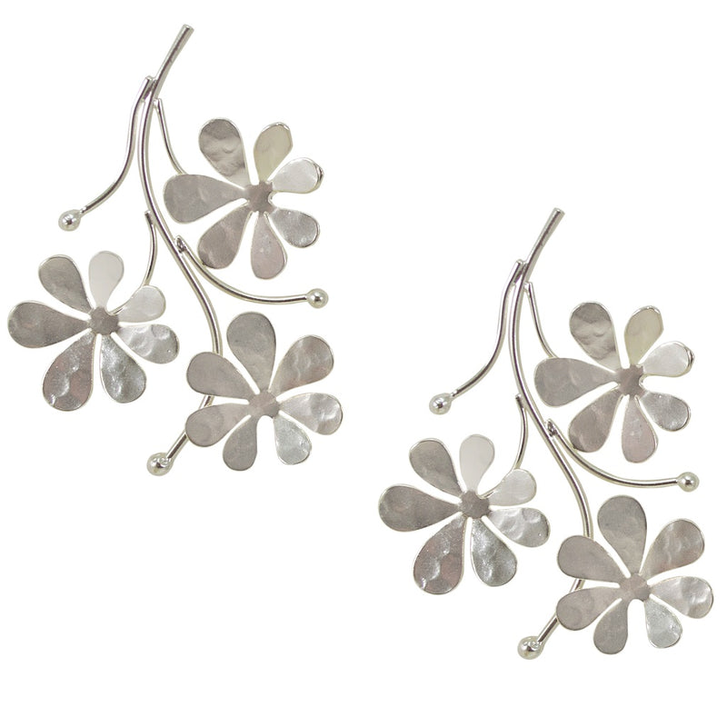 Silvered Flower and Stem Earrings