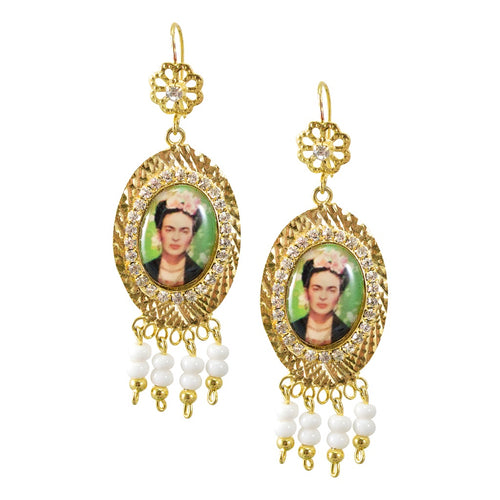 Mexican Filigree Earrings from Oaxaca - Frida Kahlo Image