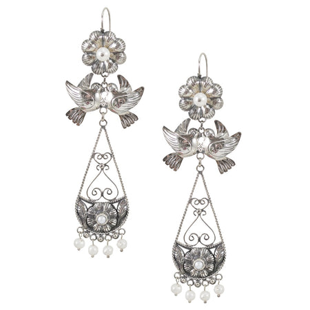 Pearl Love Bird Silver Drop Earrings