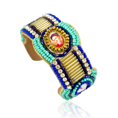 Hand Beaded Crystal and Bead Frida Kahlo Image Cuff Bracelet - Blue