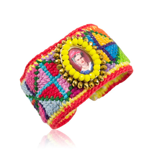 Embroidered Frida Kahlo Mexican Cuff Bracelet
