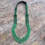 Embroidered and 5 Strand Glass Bead Necklace - Green