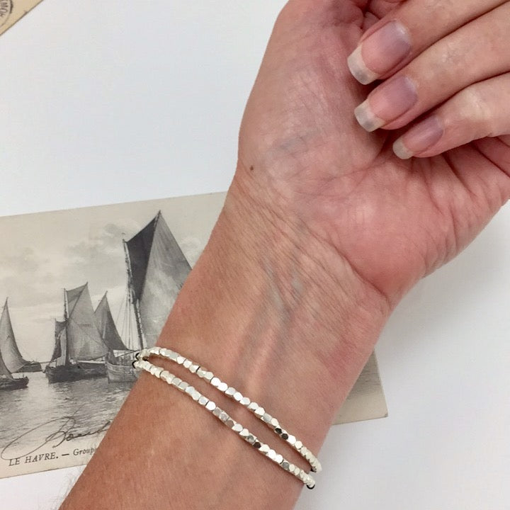 Double Band Sterling Silver on Grey Cord Bracelet