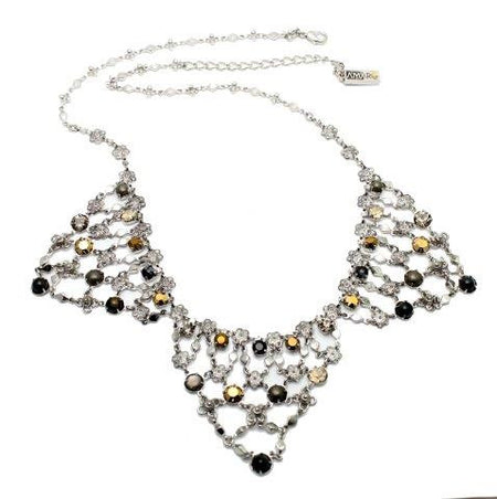 Embroidered Bib Necklace with Beads