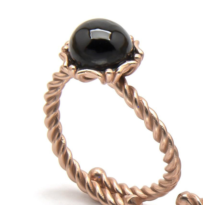 Stunning Black Spinel Cabochon Adjustable Ring