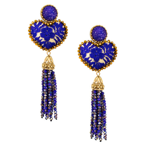 Royal Blue Embroidered Crystal Tassel Mexican Earrings