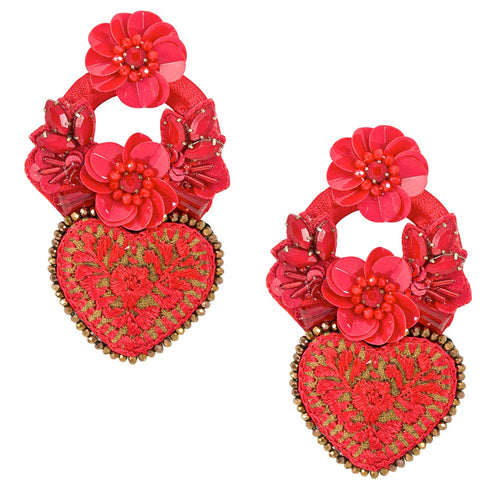 Red Embroidered and Flower Mexican Earrings