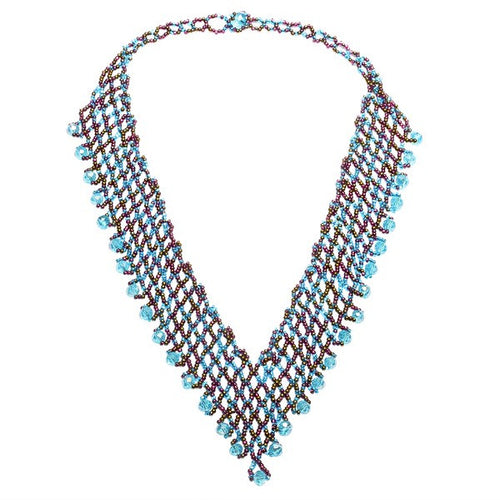 Hand Beaded Necklace - Shimmering Blue and Brown