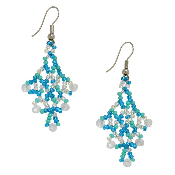 Hand Beaded Earrings - Light Blue and Crystal