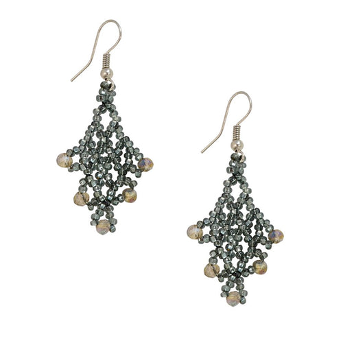 Hand Beaded Earrings - Shimmering Gray