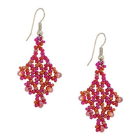 Hand Beaded Earrings - Magenta Pink