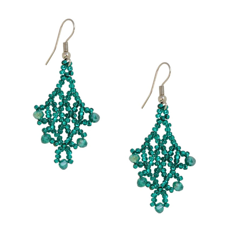 Hand Beaded Earrings - Teal
