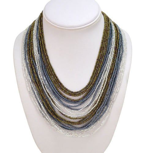 Hand Beaded Necklace - 24 Strand Gray, Cafe and Black