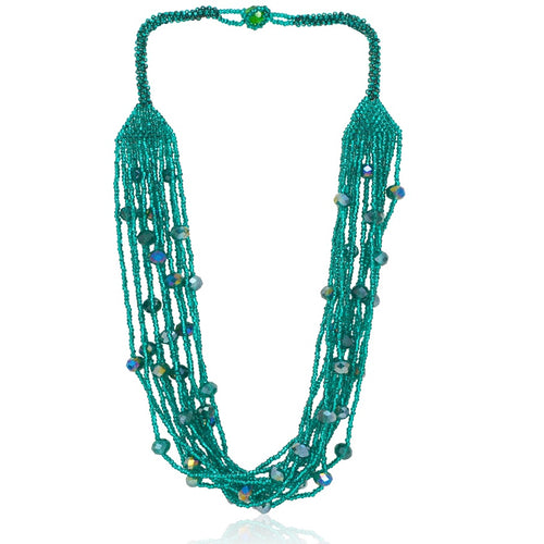 Hand Beaded Necklace - Shimmering Teal