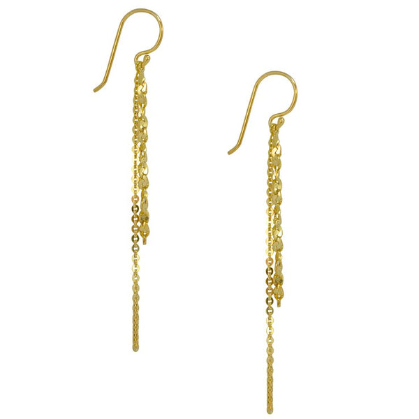 Gold Plated Sterling Silver Double Chain Earrings