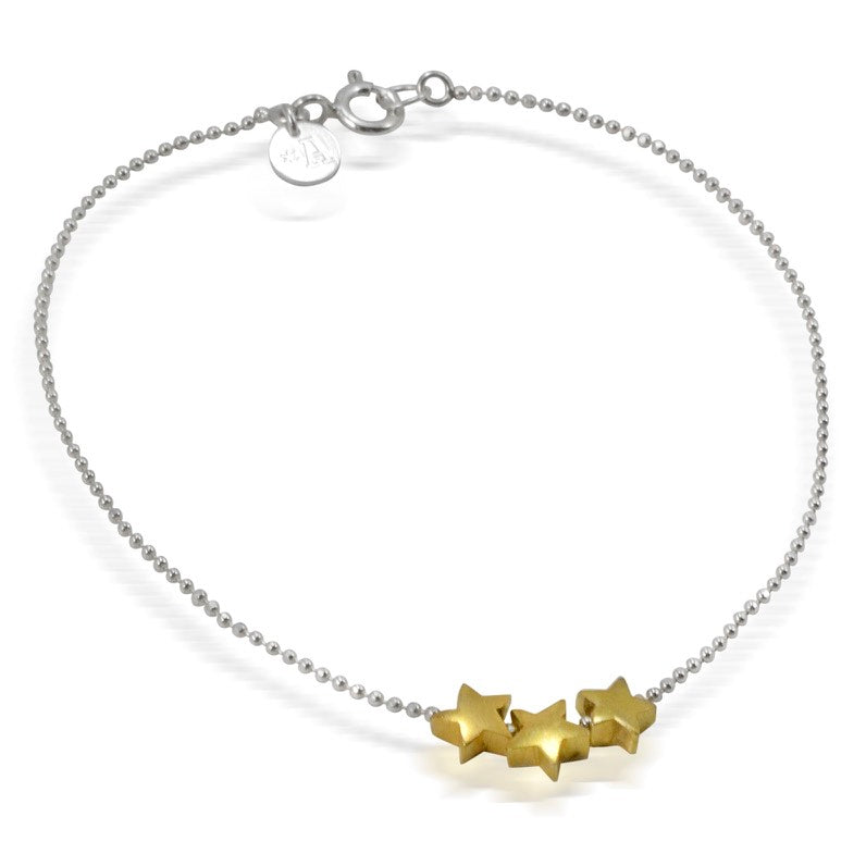Sterling Silver with 3 Gold-Plated Star Bracelet