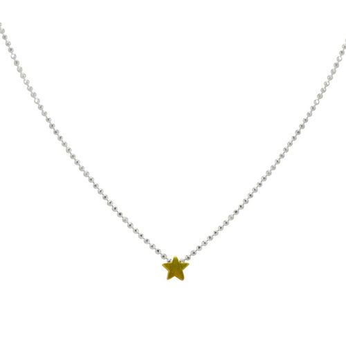 Sterling Silver Star Necklace - Gold Plated Star