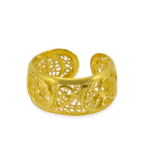Gold Plated Filigree Sterling Silver Adjustable Ring