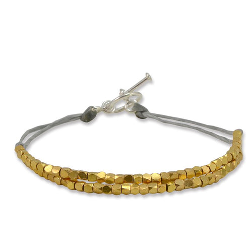 Double Band Gold Plated Sterling Silver on Grey Cord Bracelet